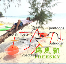 Freesky transparent plastic small ocean fishing boat