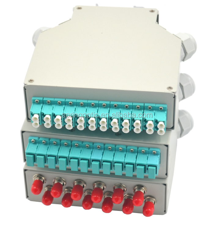 DIN Rail fiber optic terminal box with 12 SC simplex adapter