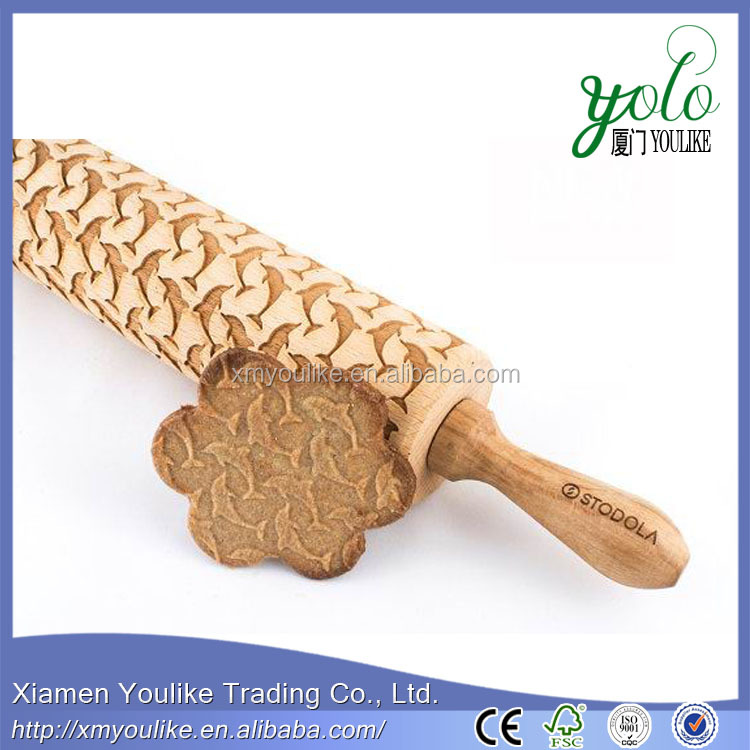New engraved dolphins pattern bamboo rolling pin