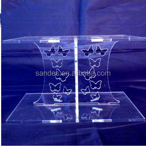 Crystal 2 Tier Butterflies Design Single Tier Square Acrylic Wedding Party Cake Display Stand