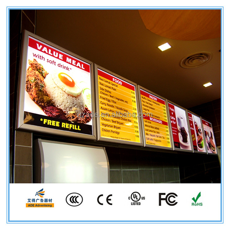 New electronic silver aluminum frame menu light box for restaurant