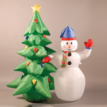 small image of Inflatable 180cm (6ft) snowman and christmas tree