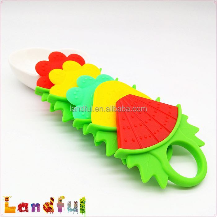 Food Grade Delicious Fruit Feeding Silicone Finger Teether Baby Pacifier Ring