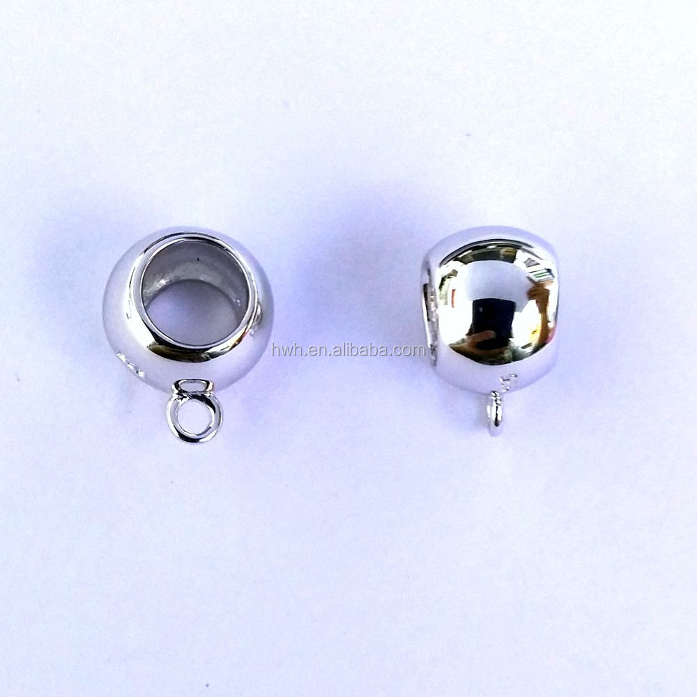 HWHCP1034 Silver Charm Carrier Plain Spacer with Rhodium Shiny Surface