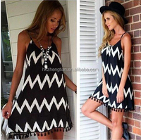 Summer holiday black and white stripe apparel dress women chiffon tops tassel dresses fashion apparel one piece girl party dress