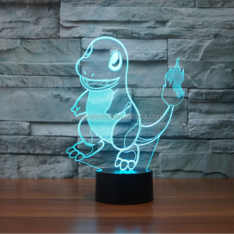 Pokemon Go Squirtle 3D Night Light 7 Color Change LED Desk Lamp Touch Button Room Decor