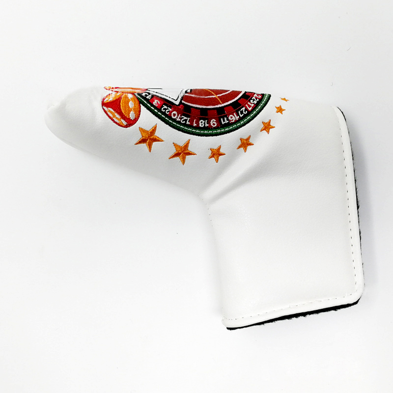Golf putter head cover with embroidered design