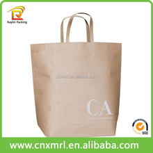Flat handle kraft paper packaging bag