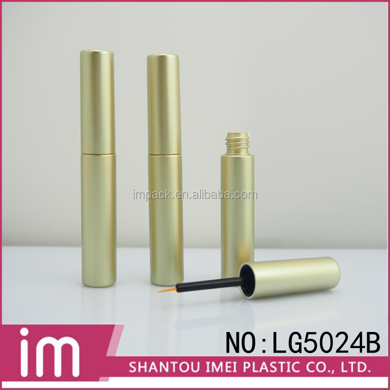 2016 new plastic round shape gold lipgloss tube/ container with brush