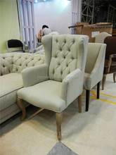 Arabic luxury style hotel lobby best price Chesterfield Wing Chair High Back Armchair button tufted back wing sofa chair