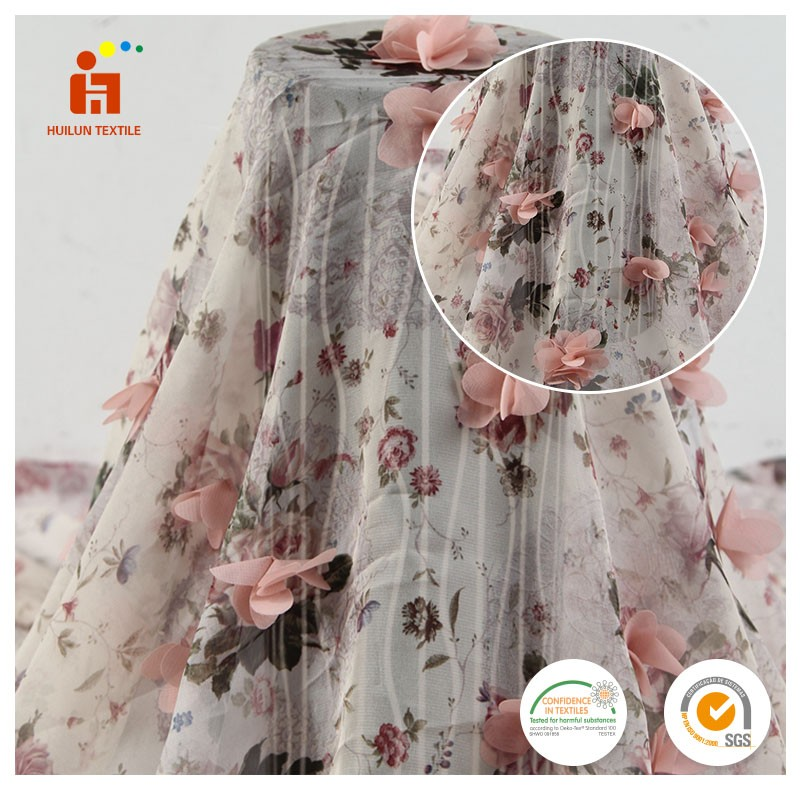 Hot Selling 3D Printed Flowers Embroidery Women Cloth Using Chiffon Fabric