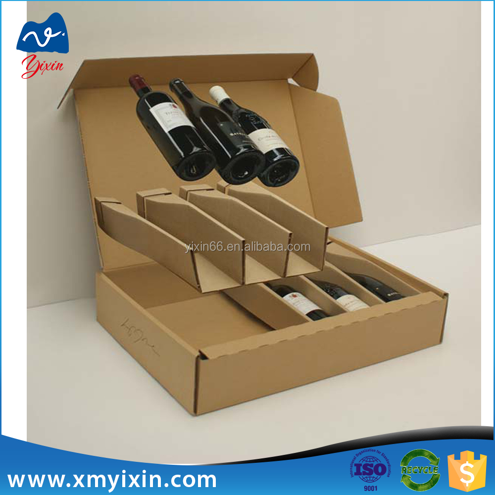 Custom new product brown wine bottle display box/beer packaging box