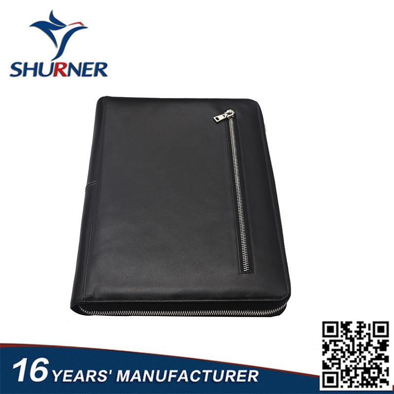 2017 Baishunniao wholesale custom business leather folder high quality A4 portfolio