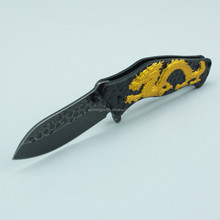 New Embossing Stainless Steel Blade Pocket Knife with Chinese Style Dragon Pattern Handle