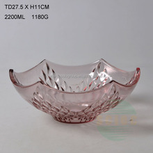 Beautiful shape 2200ml large colorful fruit glass bowls with decorative pattern
