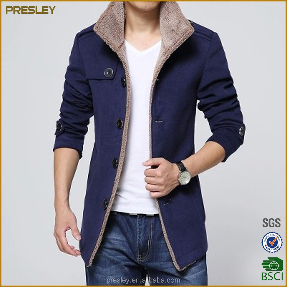 2016 new fashion men's woolen long jackets warm winter jacket coat with fur fleece inside