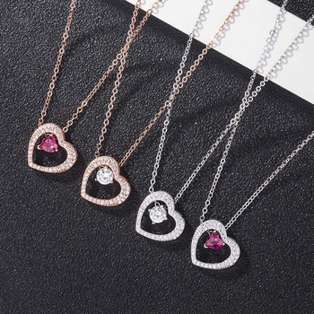AP22572 wholesale 925 sterling silver heart necklace sweater chain jewelry Dropshipping