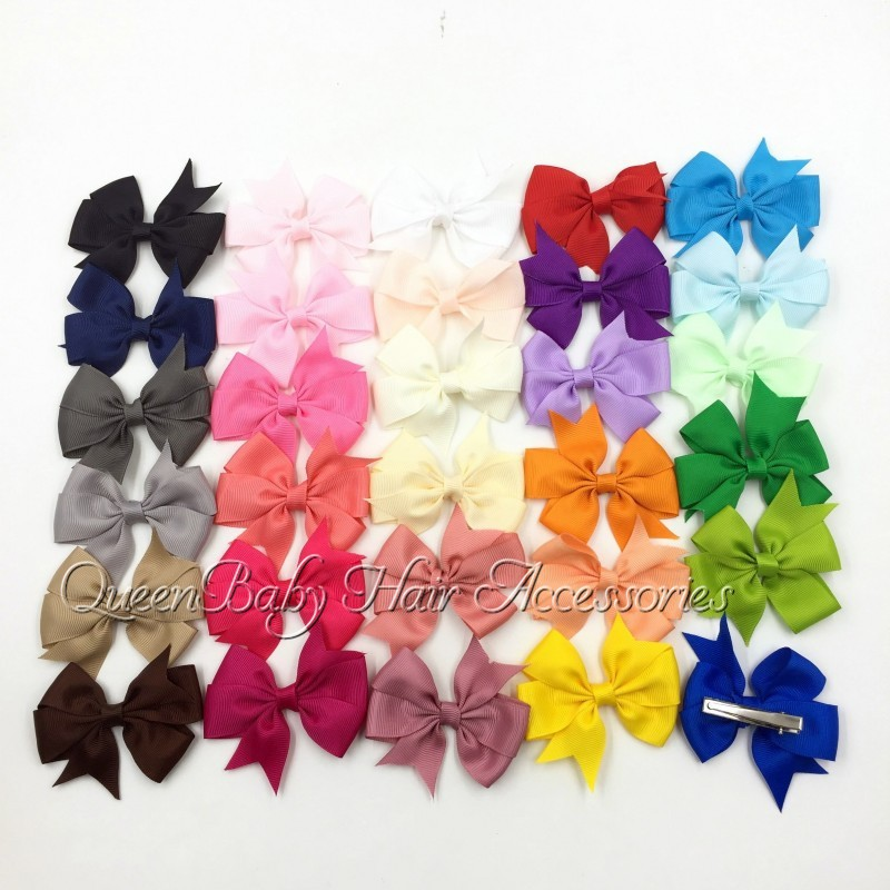 "3"" Baby Hair Bow Clips Grosgrain Bows Ribbon Bow With Hair Clip Children Boutique Hairclip"