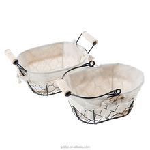 Muti-purpose Wholesale Home Traditions Vintage Metal Chicken Wire Storage Basket with Removable Fabric Liner and wooden handle