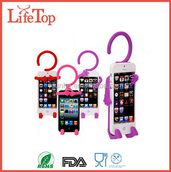 Flexible Hook Cell Phone Holder Multifunction Human Shape Hanger / Phone Silicon Holder
