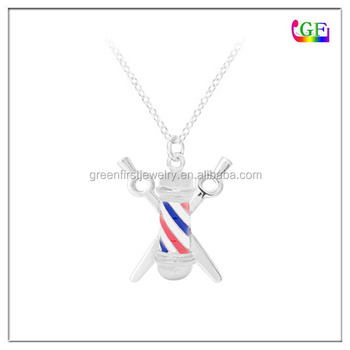 Metal Necklace BARBER shop pole stripes hairdresser pendant charm