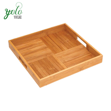Criss-Cross Design Bamboo Wood Serving Tray