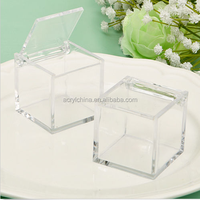 Clear Acrylic Plastic Box Jewelry Cube