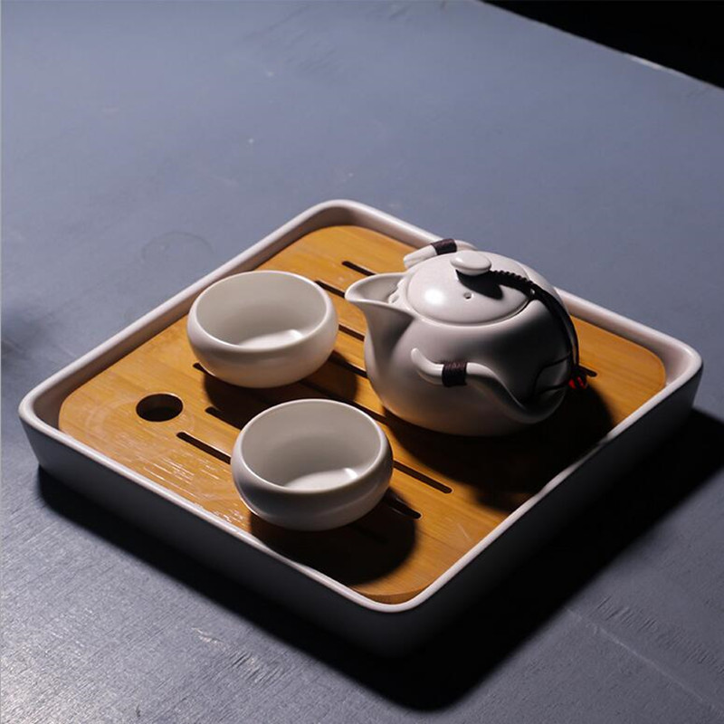 Natural bamboo tea tray ceramic Sub-shine glaze tea sets Japanese portable travel Kung Fu porcelain office personal tea set