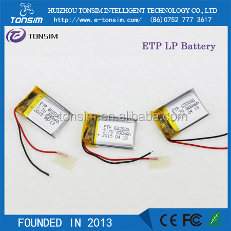 3.7v 300mah 602030 rechargeable battery 18650 rechargeable battery