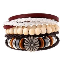 Fashion Vintage Punk Jewelry Sun Flower Alloy Men Casual Personality PU Woven Beaded Leather Bracelet