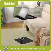 Cheap Laptop Sofa Table Mini Square I/Z Shape Metal Leg Glass Coffee Table