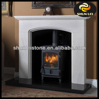 white Micro marble fireplace surround