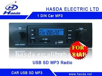 one Din hotselling car audio player with usb sd