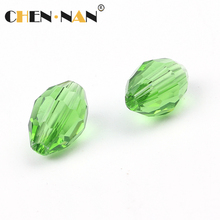 Yiwu Wholesale 3*5mm peridot green Faceted Oval Crystal Beads glass beads