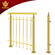 Outdoor Banisters And Railings Cheap Balcony Removable Gold Color Inox Metal Stainless Steel Pipe Stair Handrails