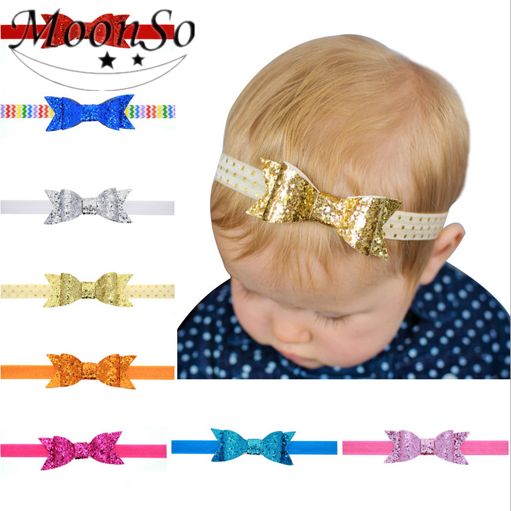Wholesale lovely Baby Children fabric stripes sequins bow Hair Accessories elastic Headband Hair Band Jewelry MoonSo AH5736