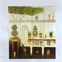 Wooden 4-Panel Folding wooden Screen room divider Suitable for kitchen