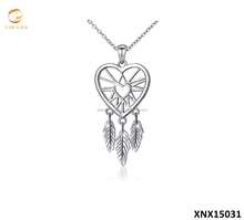 Pure Sterling Silver Dream Catcher Jewelry 925 Silver Love Heart Pendant Necklace