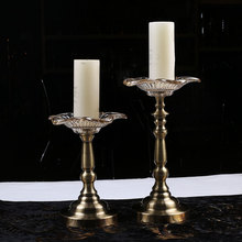 clear flower bowl metal pillar candle stand for church