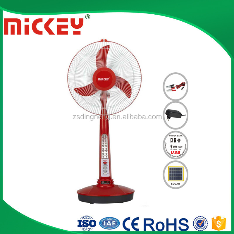 Indoor and outddor use 12V solar rechargeable fan stand with USB jack