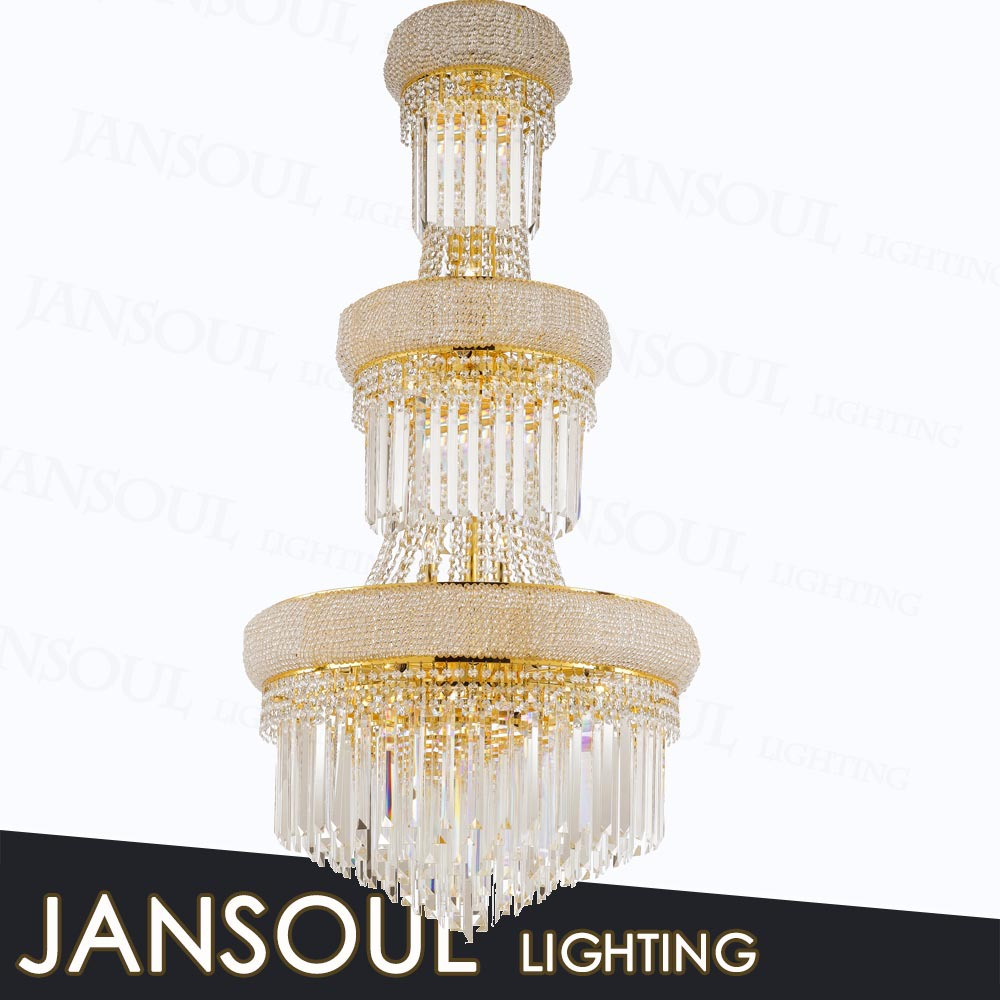 chinese antique large gold cheap handmade decorative 3 tiers crystal acrylic pendant lighting yellow glass chandelier