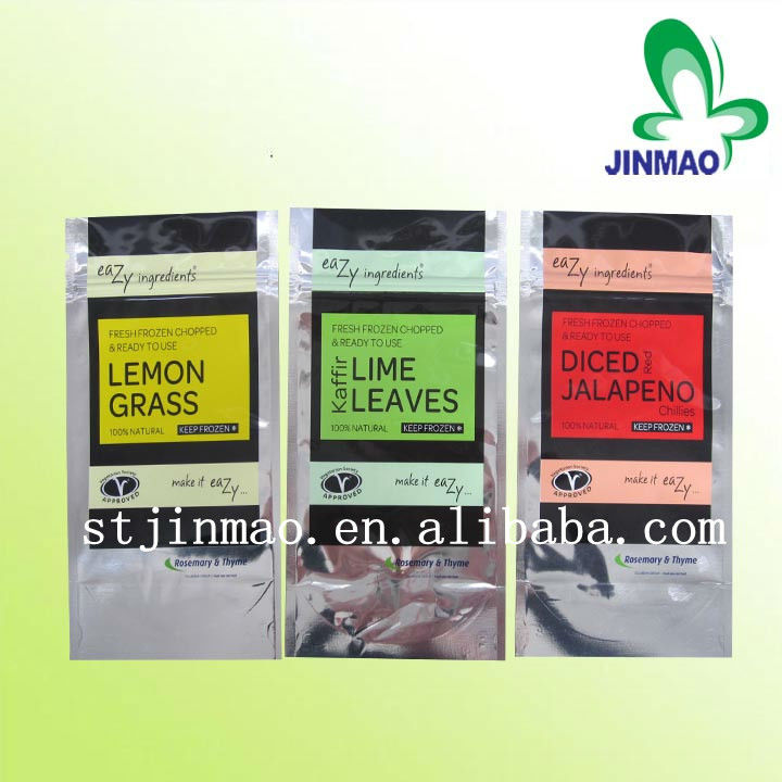 Aluminum foil stand up plastic zipper pouches