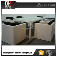 PE Rattan second hand dining table and chairs manufacturer