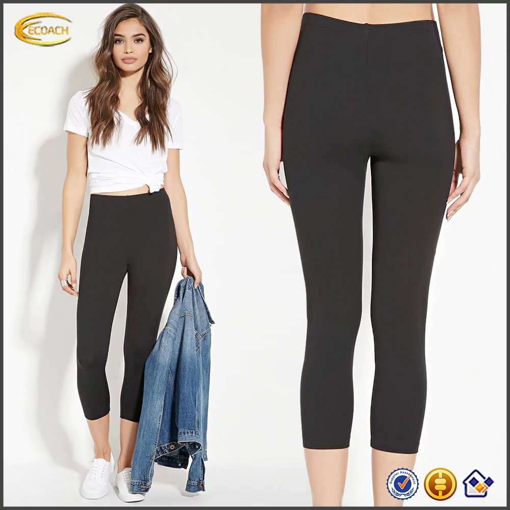 Ecoach high quality super soft 94% cotton 6% spandex black leggings manufacturer women brand name leggings