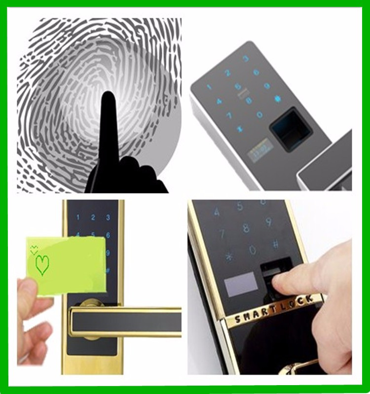Touchscreen Door Sensor Lock By Fringerprint Password and RFID card