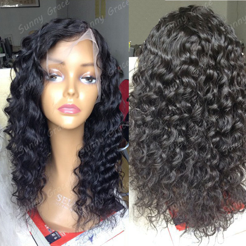 "High density <strong>180</strong>% unprocessed virgin hair curly full lace wig 8-30"" natural color Malaysian hair wig in stock"
