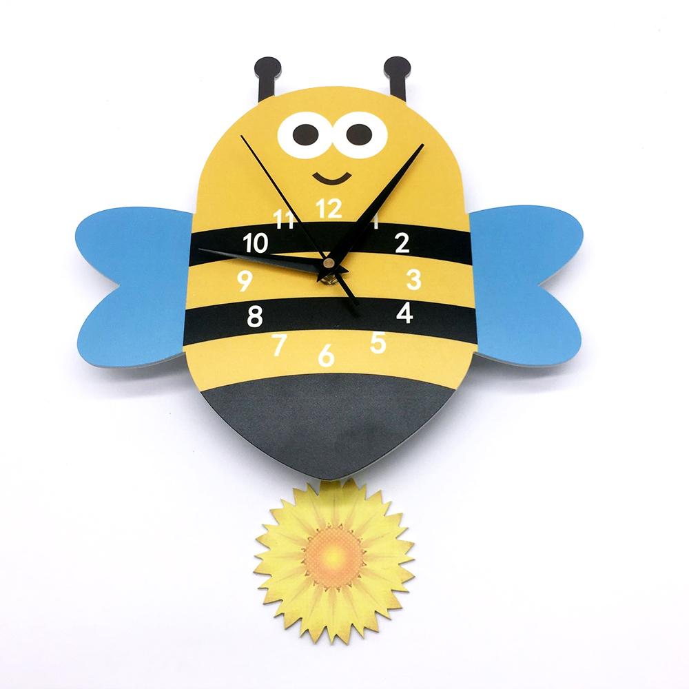 Funlife Honeybee Cartoon Pendulum Clock Arabic Numerals Silent ...
