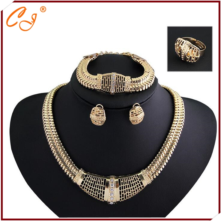Fashion diamond plating <strong>18</strong> <strong>k</strong> gold jewelry set Europe and the United States women's gift