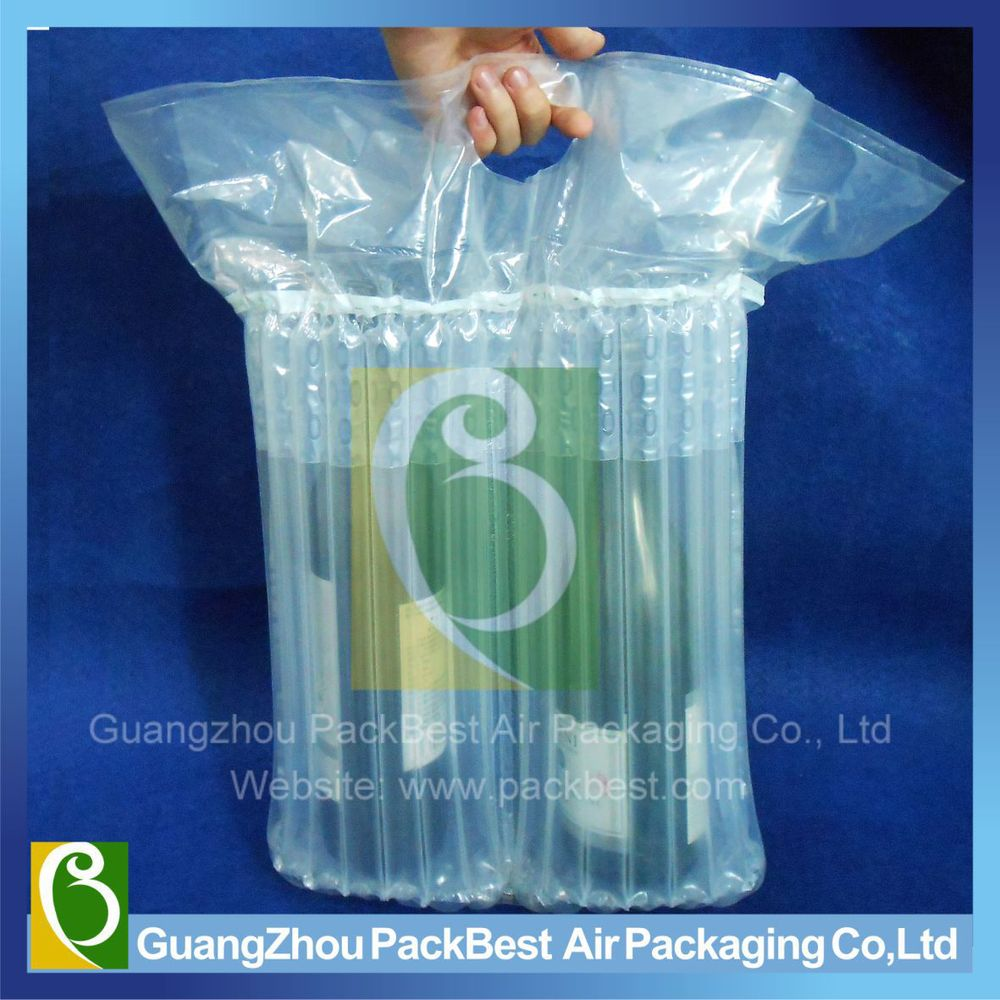 Q shape column air bag packaging for wine bottle