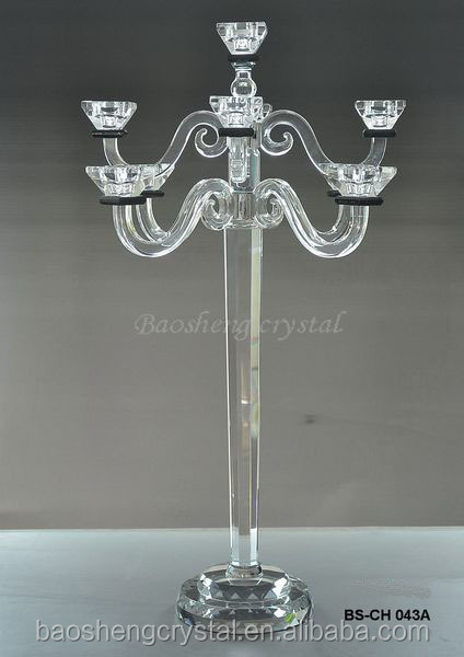 Hot! Tall 9 Arms Black Pillar Crystal Wedding Candelabra Pujiang (BS-CH043)